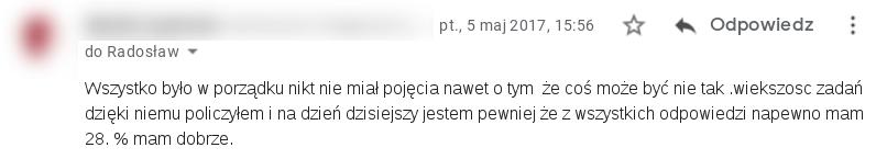 Opinia o SecretCalc z e-mail